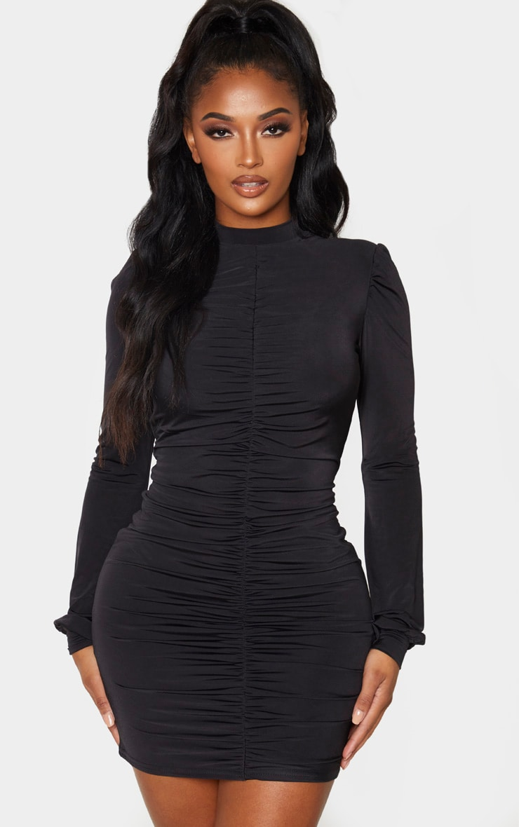 Shape Black Slinky Ruched Front High Neck Bodycon Dress 1