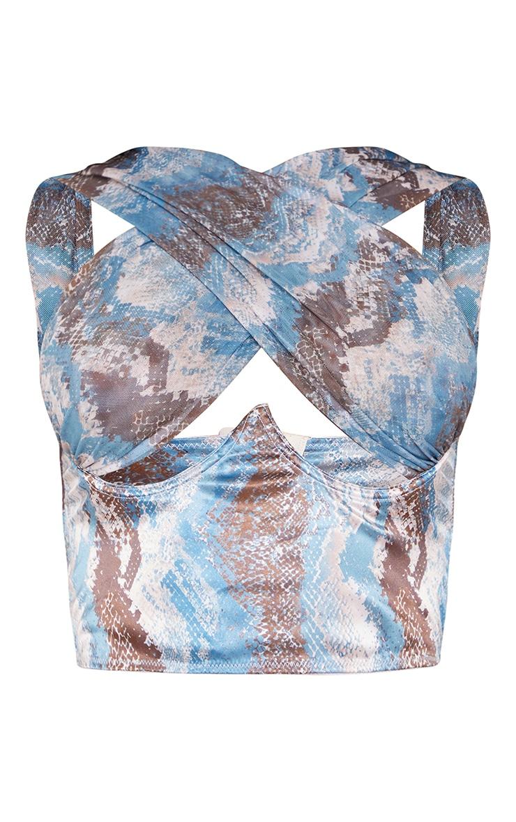 Blue Snake Print Satin Underbust Halterneck Chiffon Strap Crop Top 5