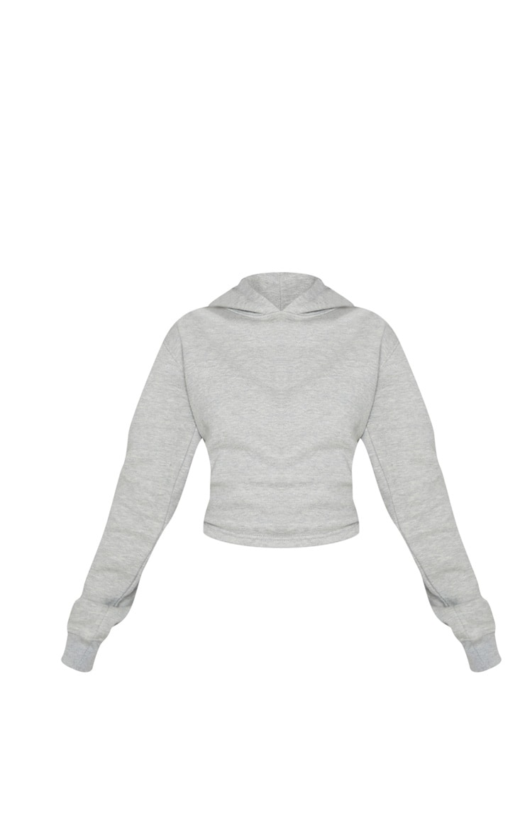 Grey Lace Up Back Crop Hoodie 3