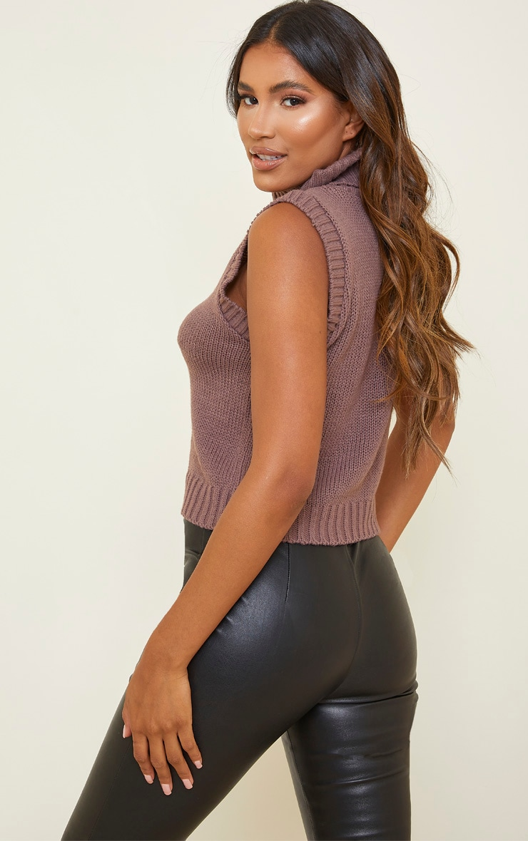 Mocha Roll Neck Sleeveless Knitted Top 2