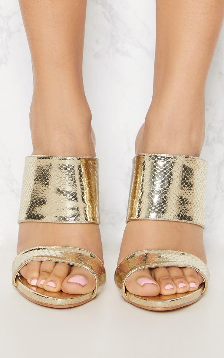 Gold Twin Strap Mule Sandal 5
