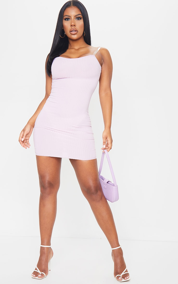 Lilac Clear Strap Ribbed Scoop Back Bodycon Dress 3