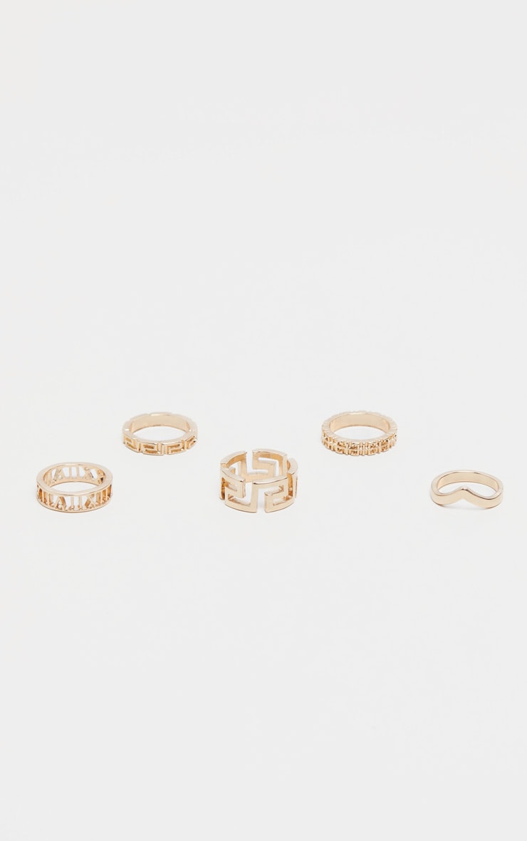 Gold Roman Multi Shape Five Set Ring Pack 3
