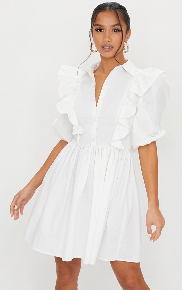 Petite White Ruffle Detail Shirt Dress 1