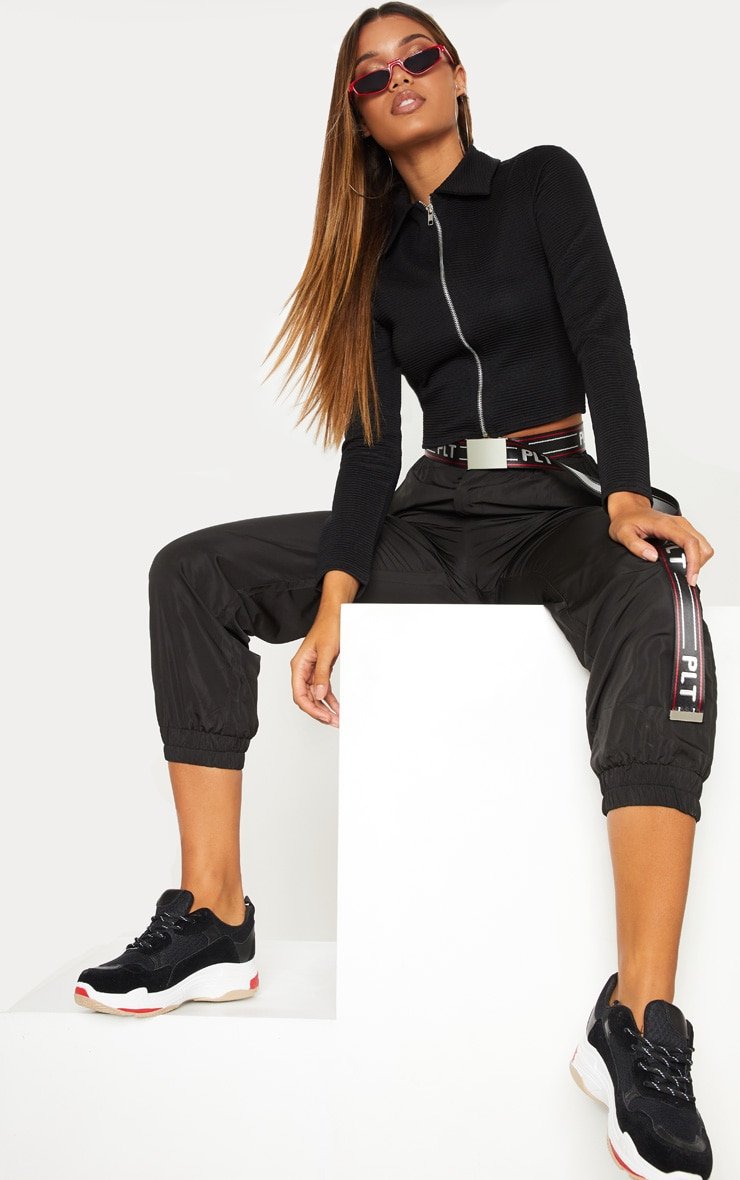 Black Rib Zip Up Top 5