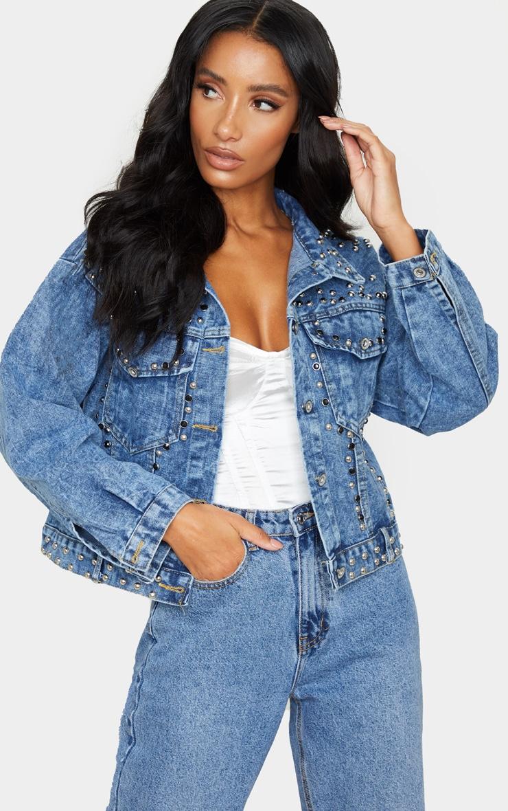 Mid Wash Studded Oversized Denim Jacket 1