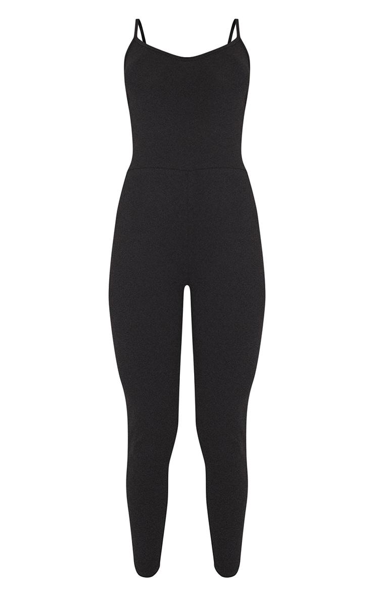 Basic Black Cotton Blend Strappy Plunge Jumpsuit 2