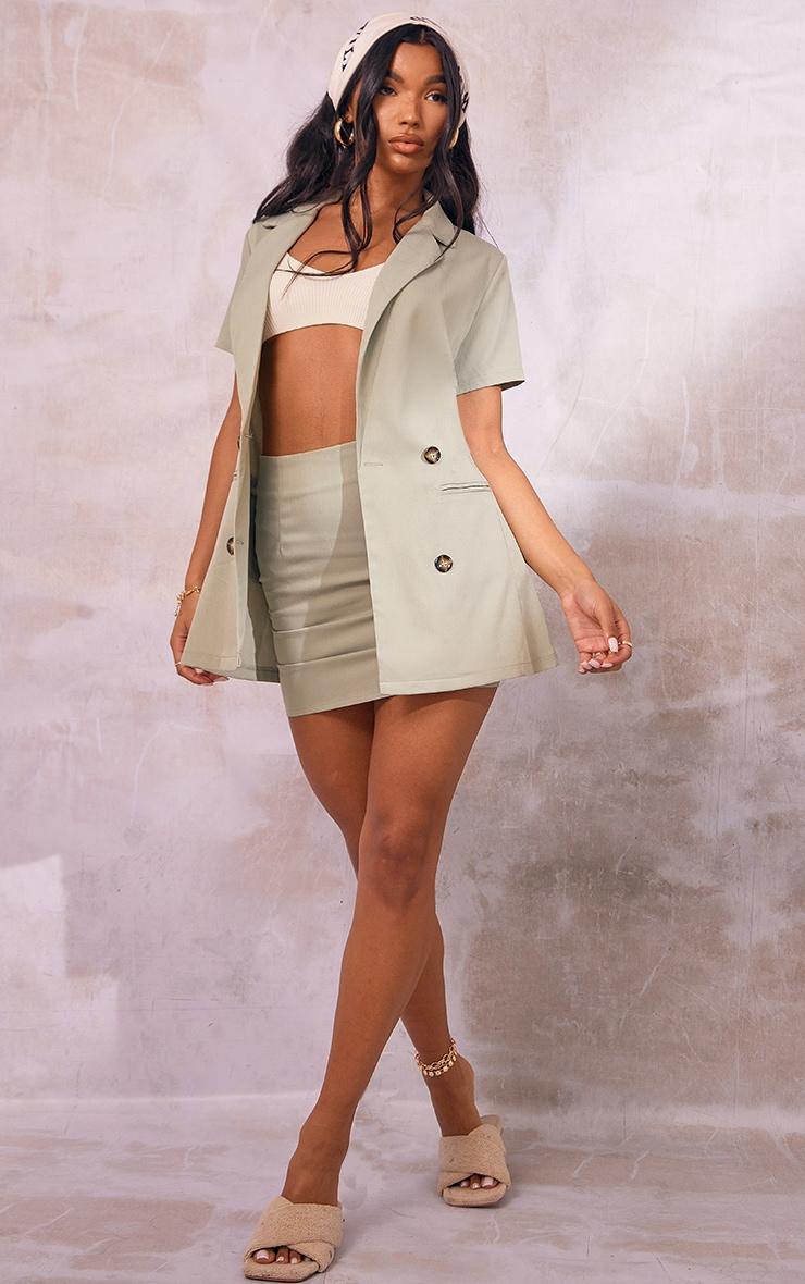 Sage Green Woven Double Breasted Short Sleeve Longline Blazer 3