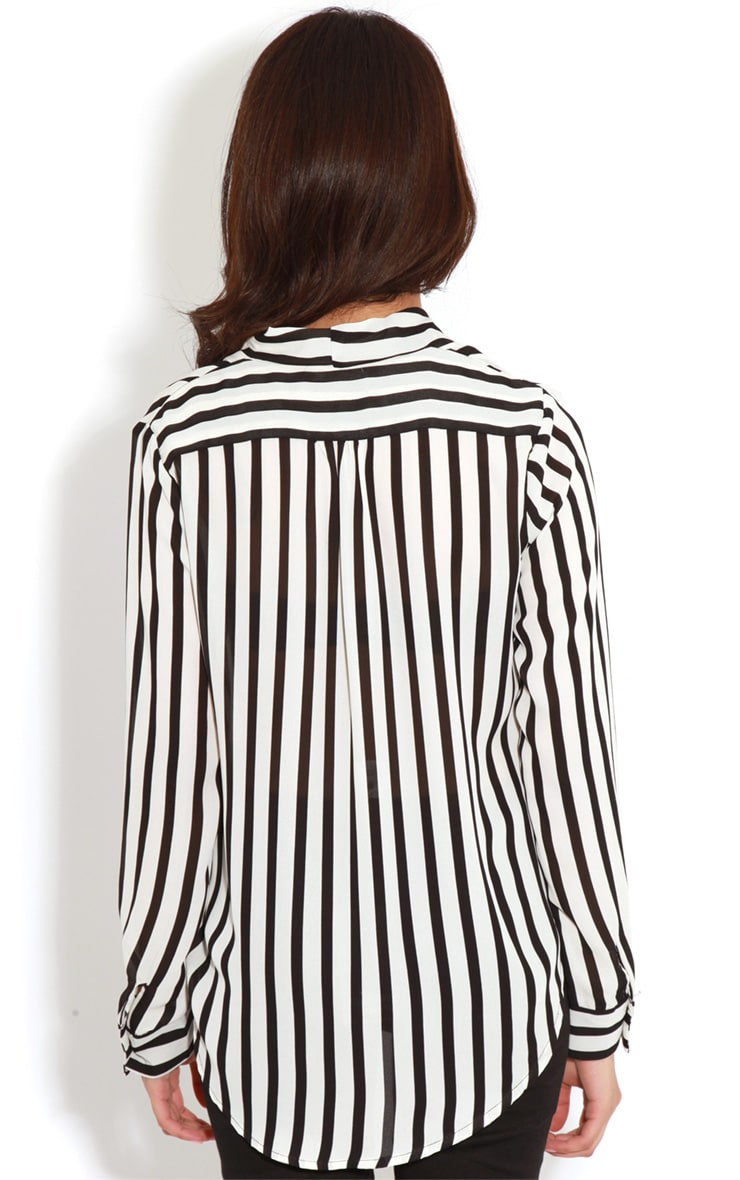 Rosie Monochrome Striped Cross-Over Blouse 2