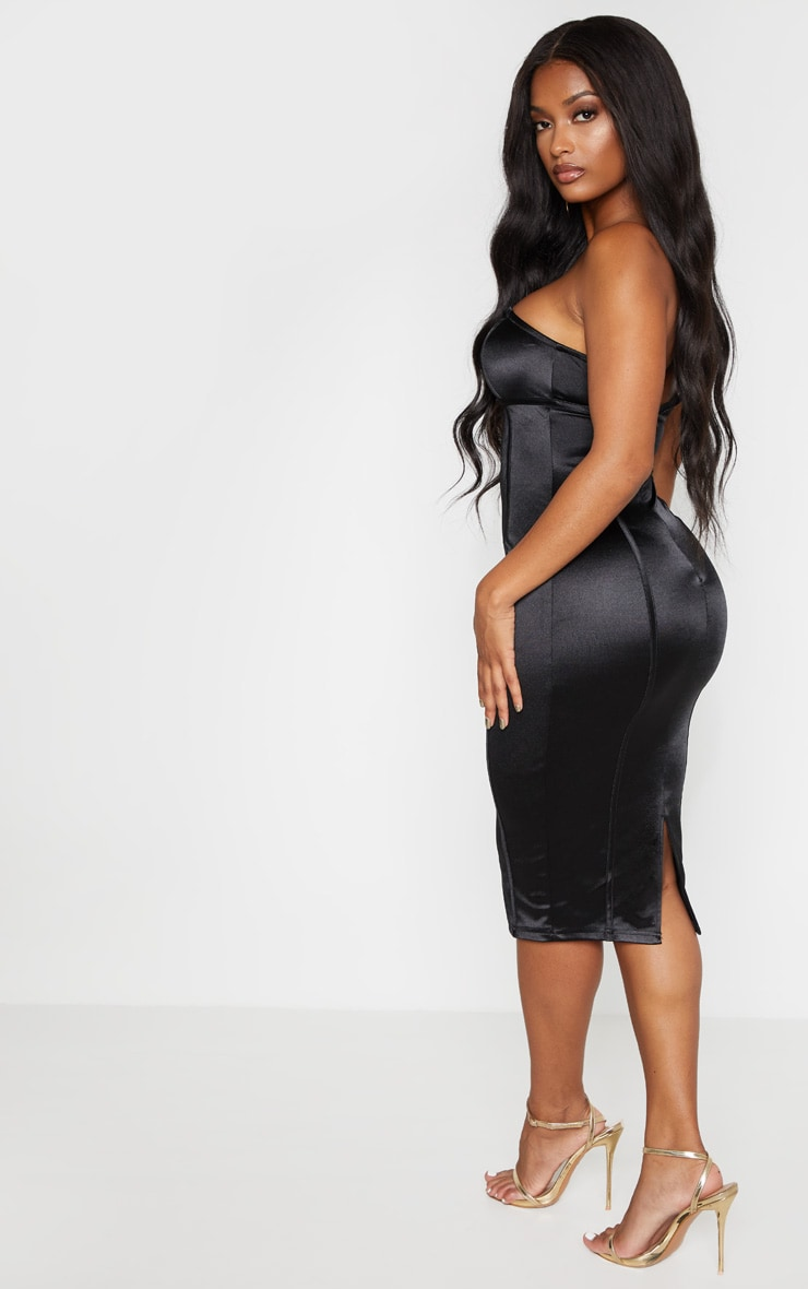 Shape Black Sweetheart Binding Detail Midi Dress 2