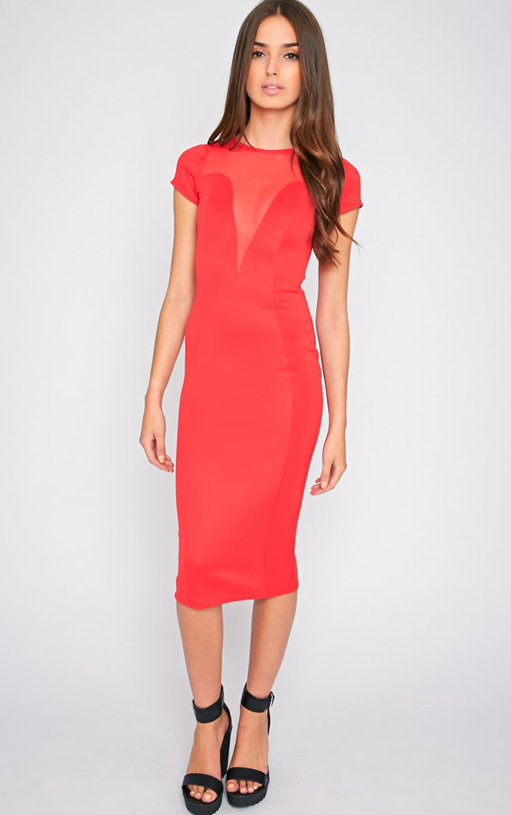 Whitney Red Mesh Panel Midi Dress 3