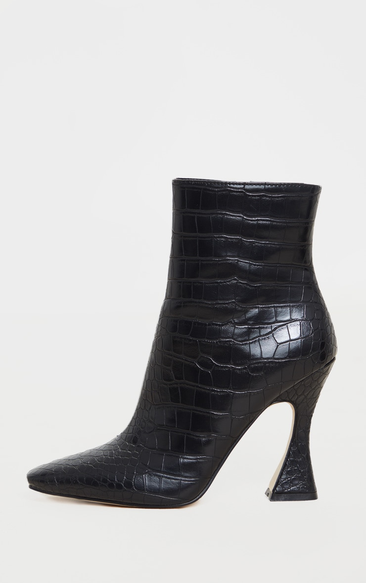 Black Croc Flare Heel Ankle Boots 4