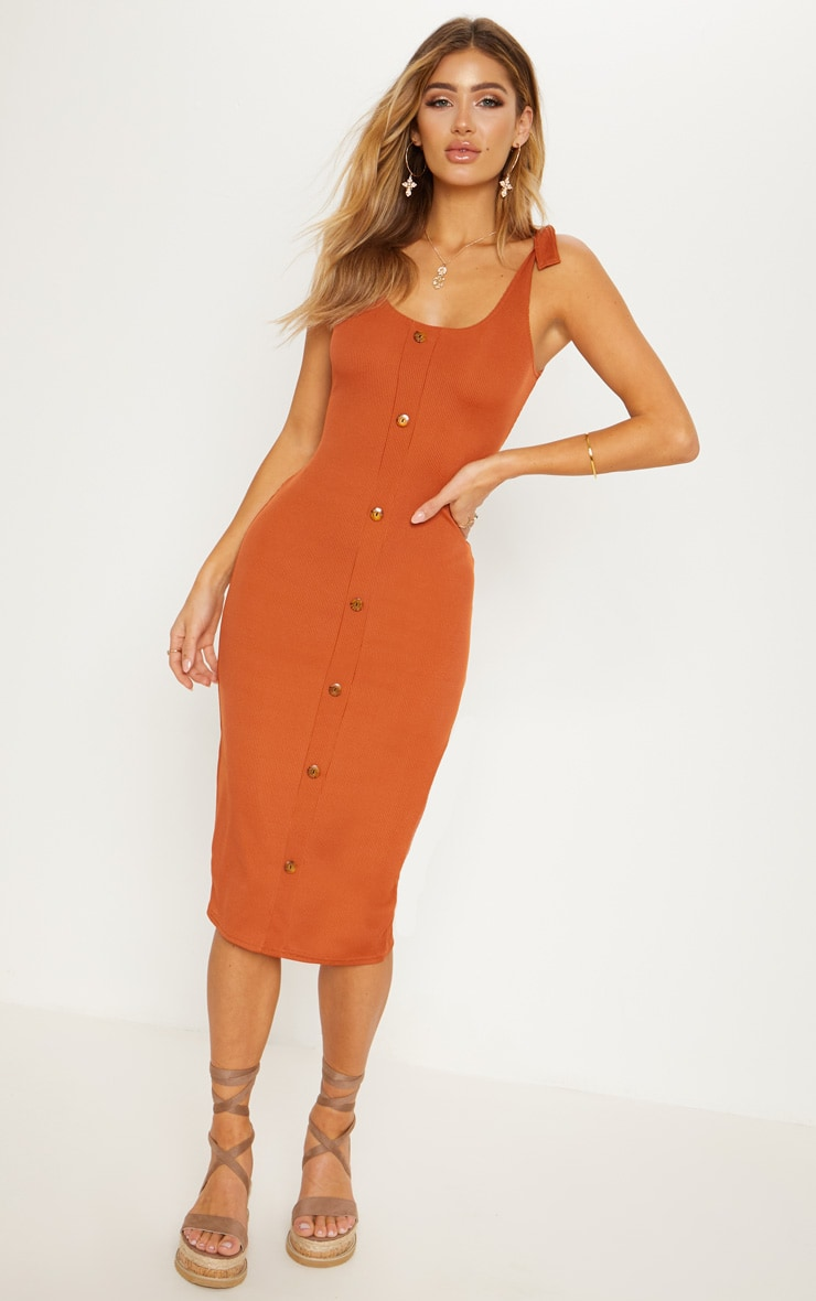 Burnt Orange Ribbed Tie Shoulder Tortoise Shell Button Down Midi Dress 1
