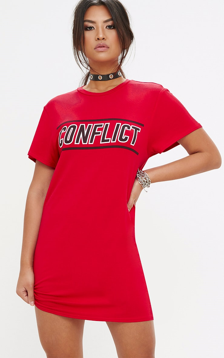 Red Conflict T Shirt Dress 1