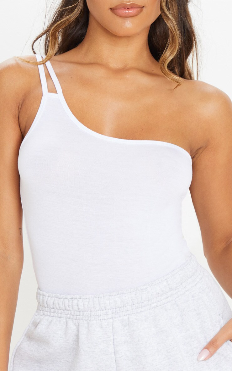 White Jersey Double Strap One Shoulder Bodysuit 6