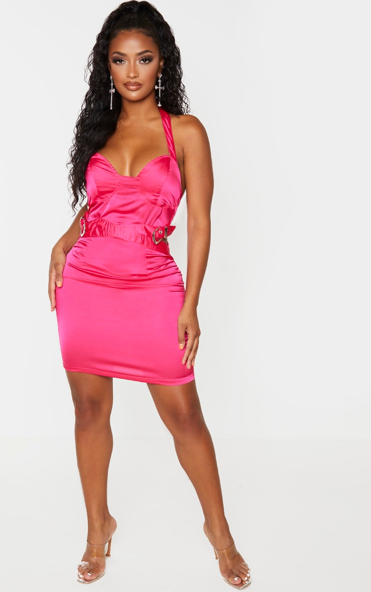 Shape Pink Halterneck Buckle Detail Bodycon Dress 4