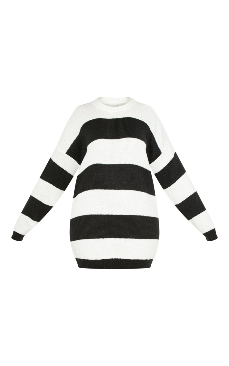 PLT Plus - Robe pull oversize à rayures noires et blanches 3