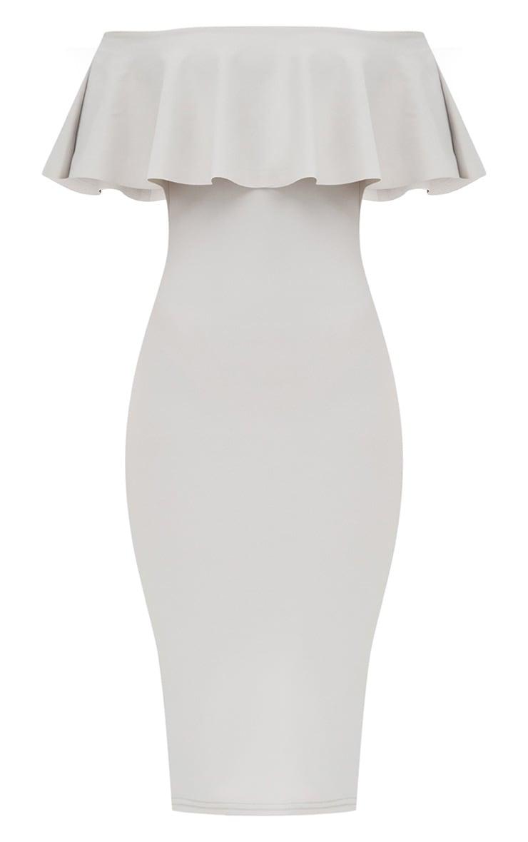 Ice Grey Bardot Frill Midi Dress  3