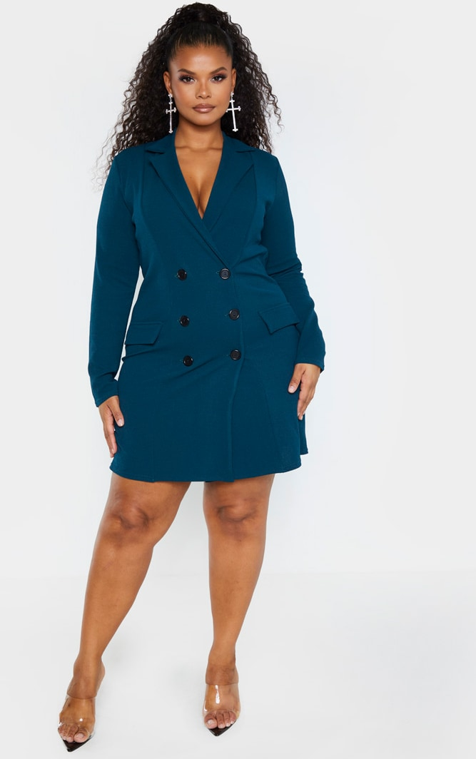 Plus Emerald Green Button Detail Blazer Dress 4