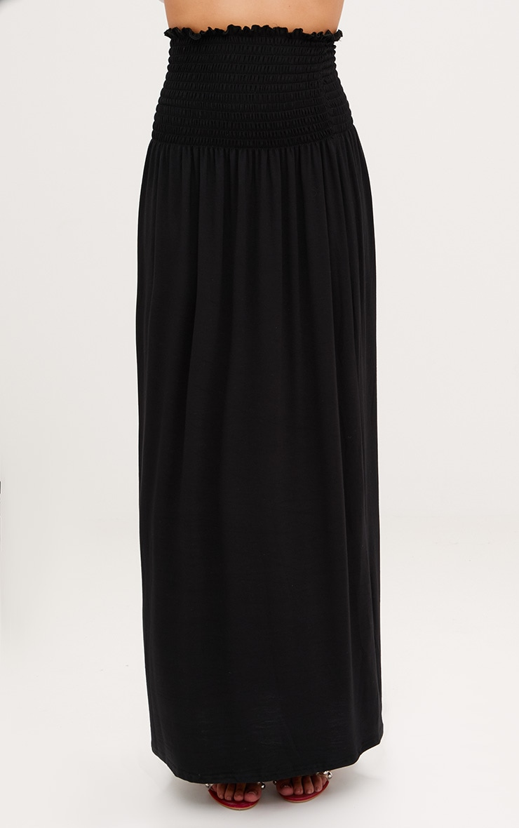 Black Shirred Waist Maxi Skirt 4