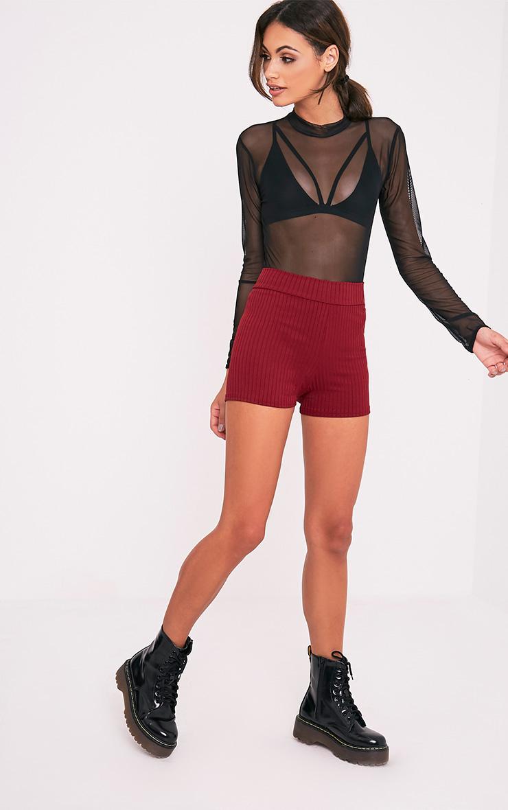 Janice Burgundy Ribbed Shorts 6