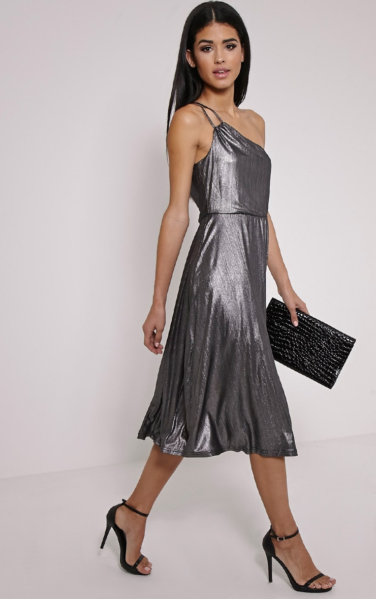 Stephy Silver Metallic Skater Dress 1