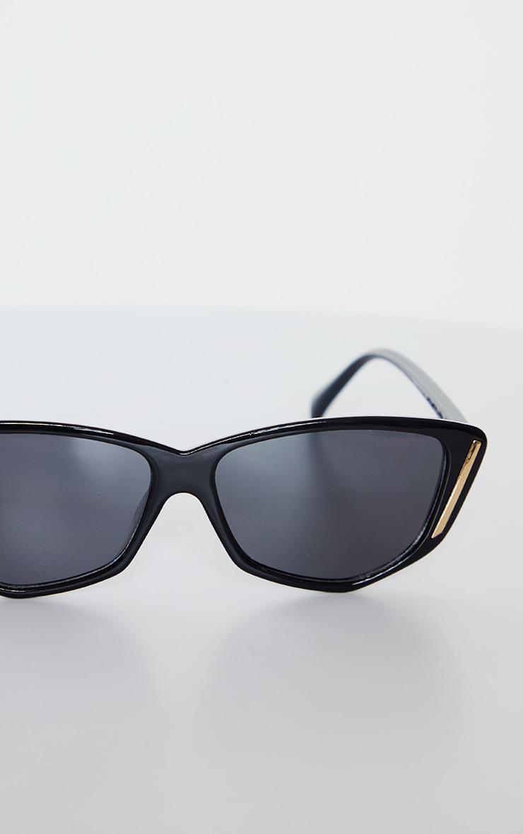 Black Cat Eye With Gold Trim Sunglasses 2