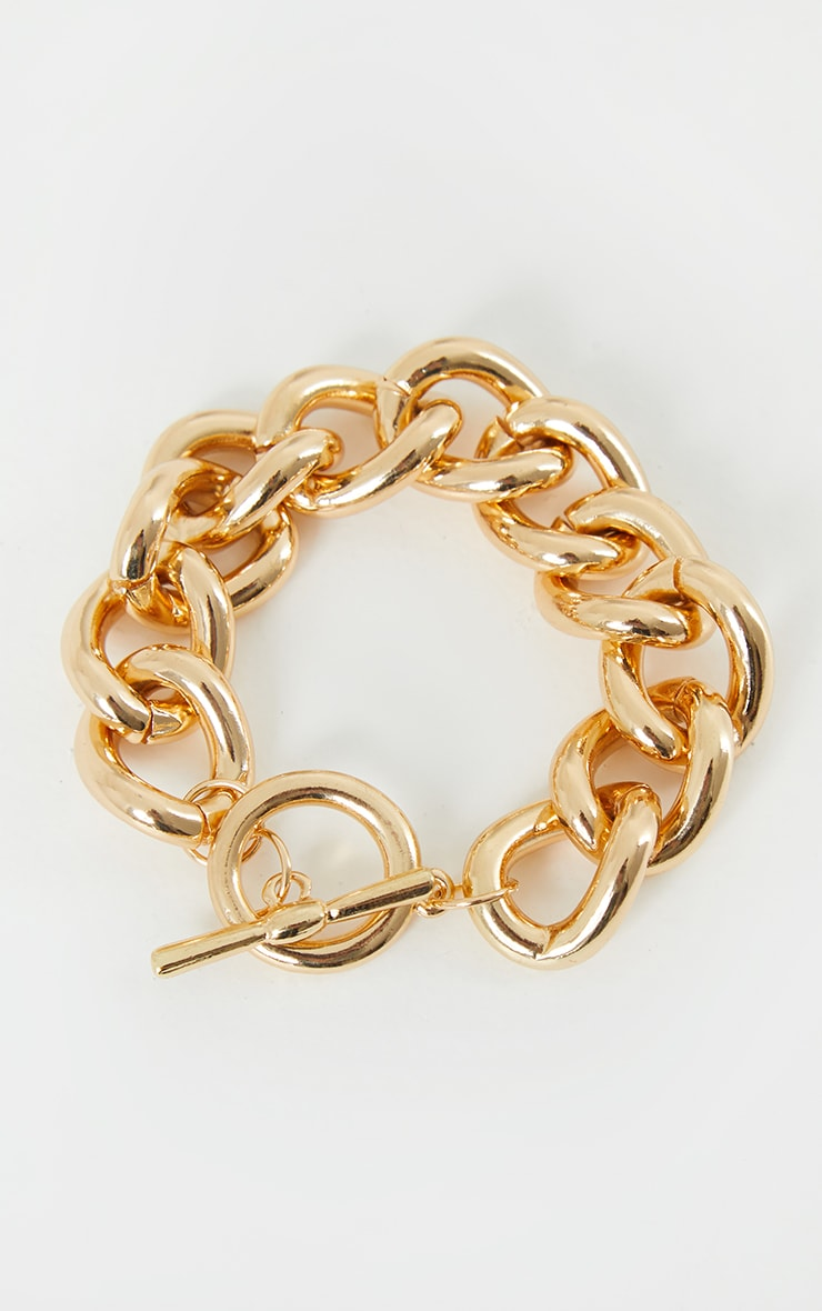 Gold Chunky T Bar Bracelet 1