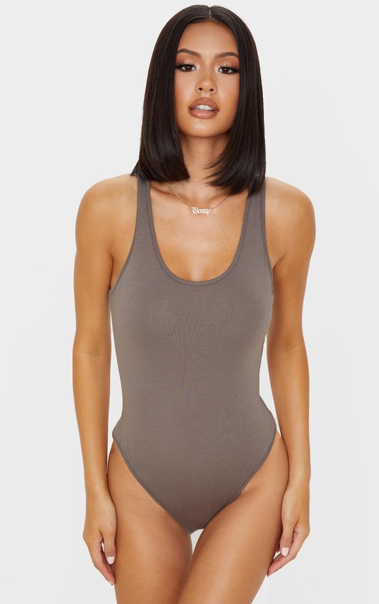 Mocha Cotton Scoop Neck Sleeveless Bodysuit 2