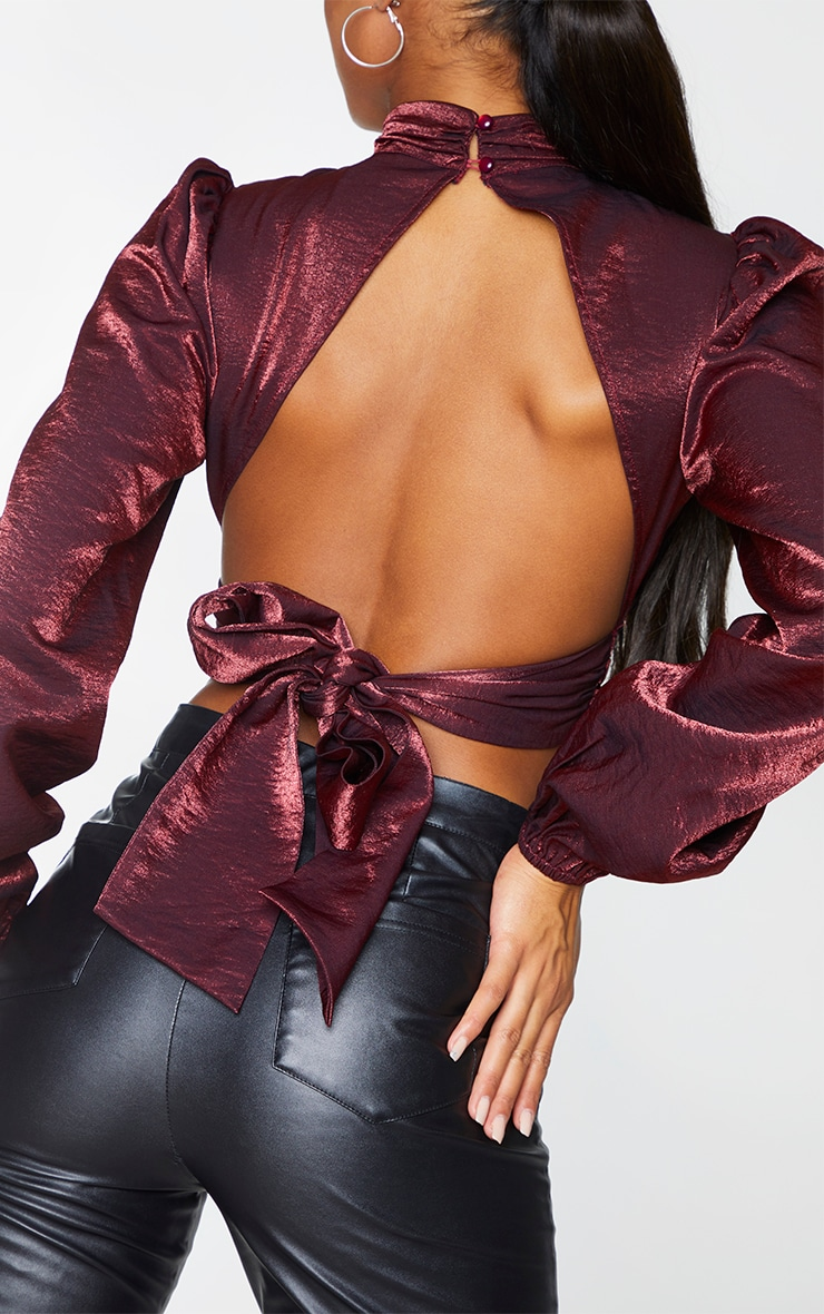 Burgundy Metallic Woven Tie Back Blouse 4