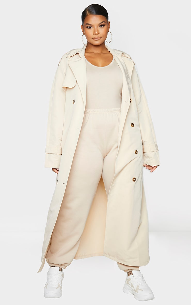 Plus Stone Oversized Button Down Trench Coat 3