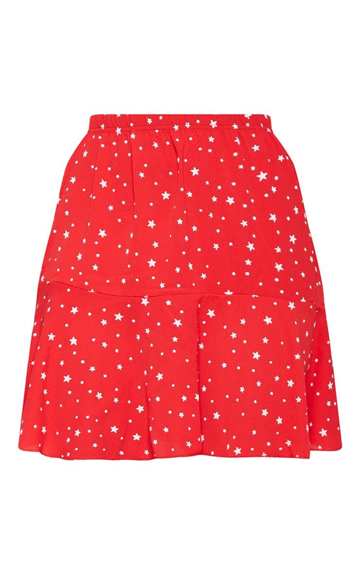 Red Star Print Frill Hem Mini Skirt  3