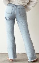 PRETTYLITTLETHING Shape Vintage Ripped Hem Straight Leg Jeans 3