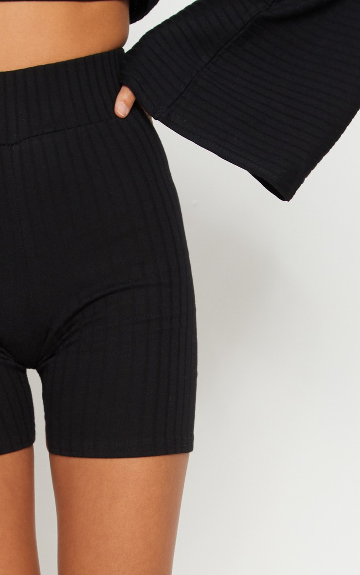 Black Rib High Waisted bike Shorts 6
