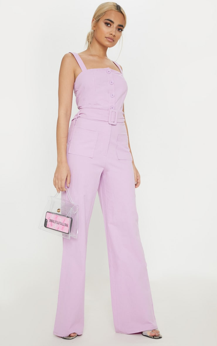 Petite Lilac Wide Leg Square Pocket Button Jumpsuit 4