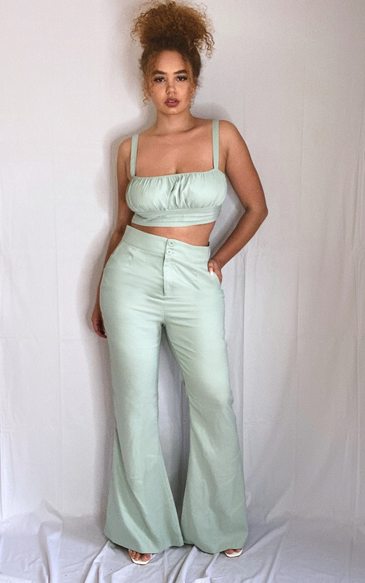 Plus Sage Green High Waisted Double Button Waist Flare 1