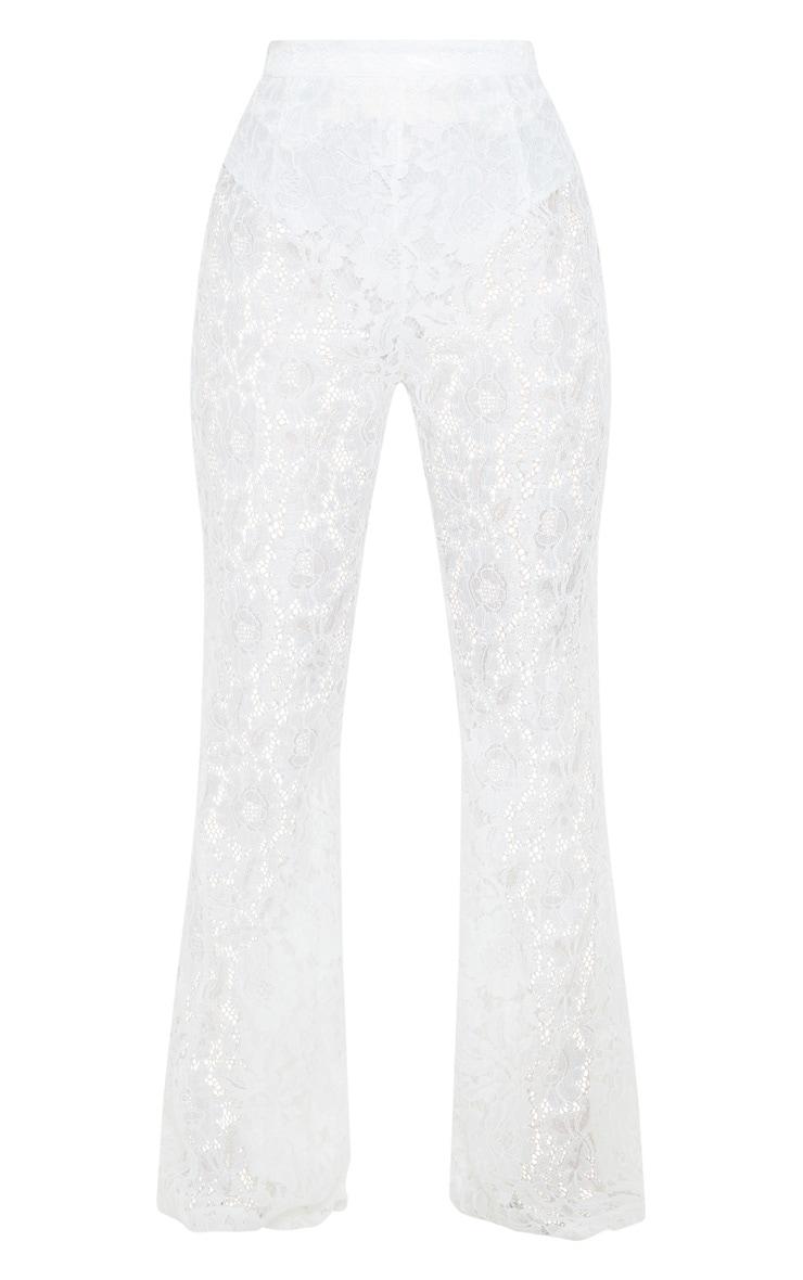 White Lace Sheer Flare Leg Pants 3
