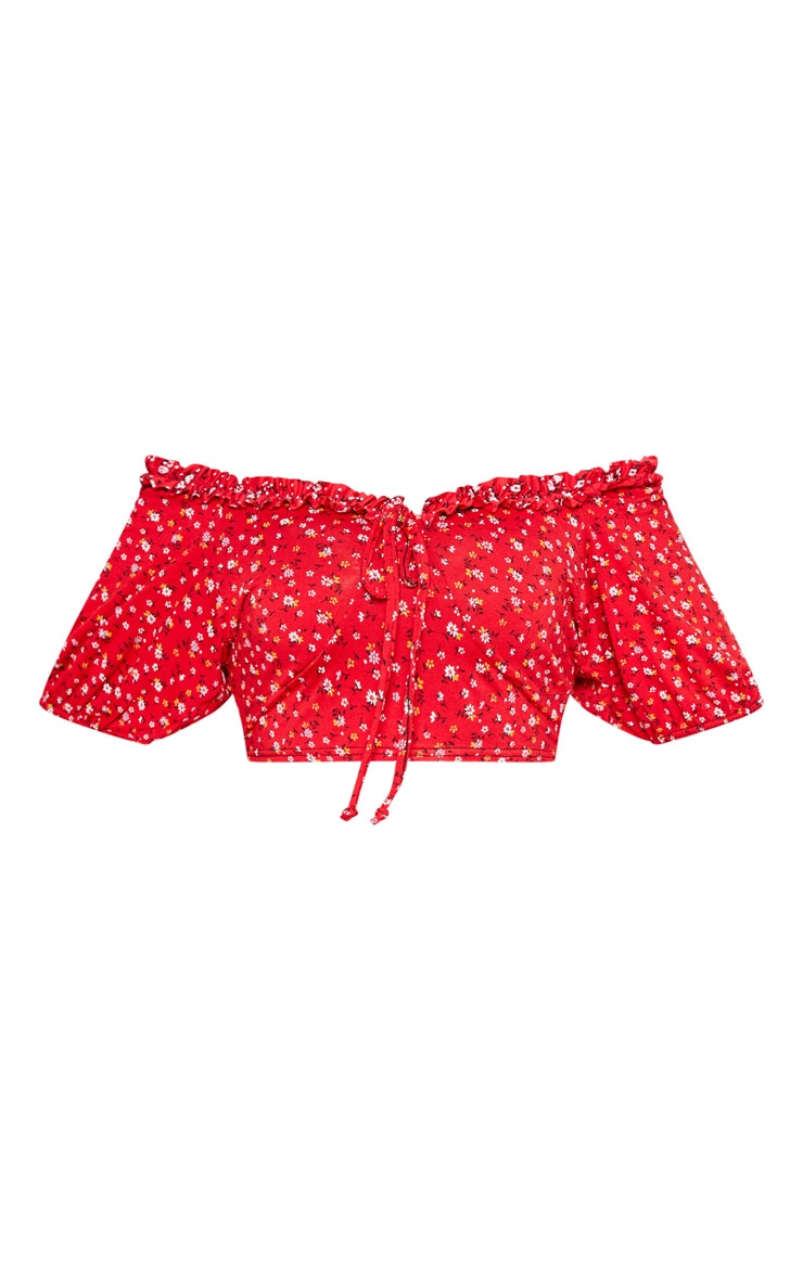 Plus Red Ditsy Floral Ruched Front Crop Top 3