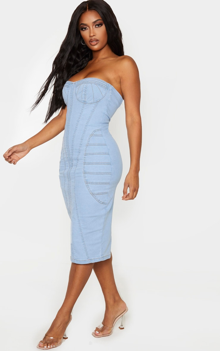Shape Light Blue Wash Denim Corset Detail Midi Dress 4