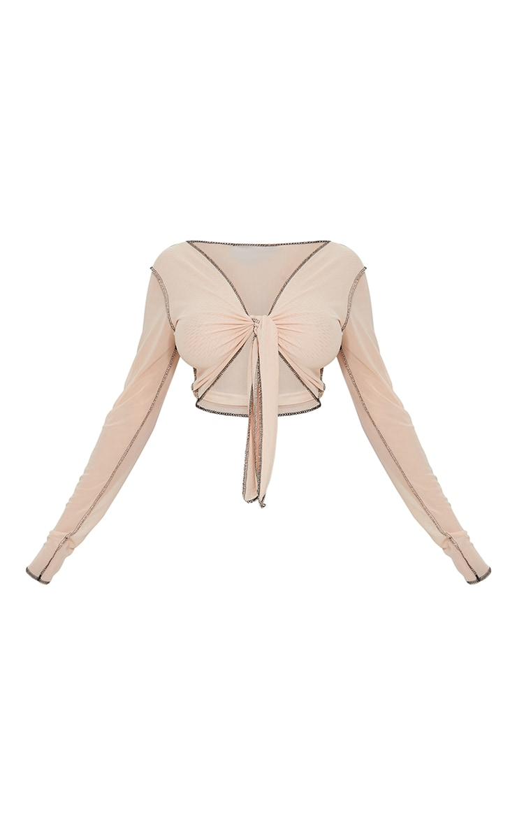 Nude Mesh Contrast Stitch Tie Front Shirt 5