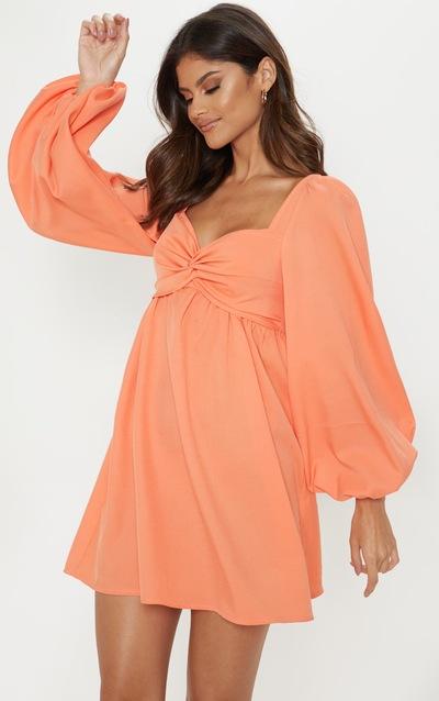 6421cc0c6f40fe Bright Orange Twist Front Smock Dress