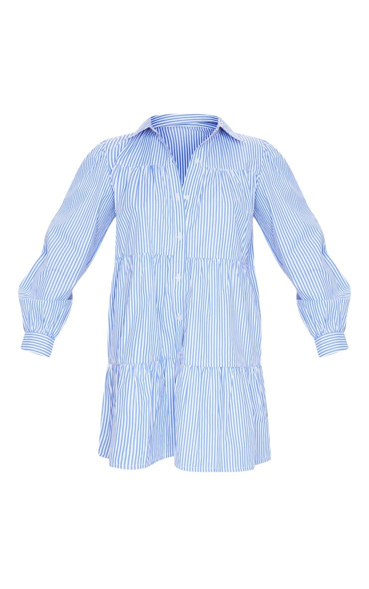 Blue Stripe Long Sleeve Tiered Shirt Dress 5