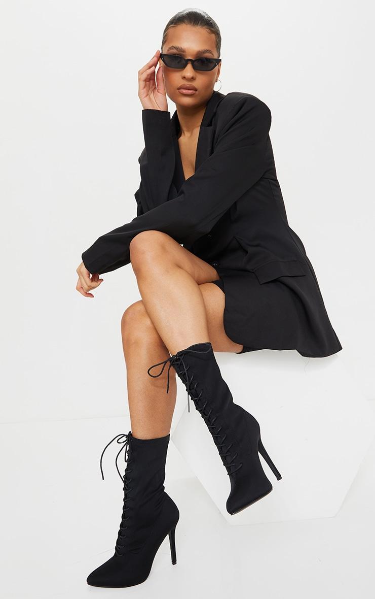 Bottes-chaussettes noires à lacets 3