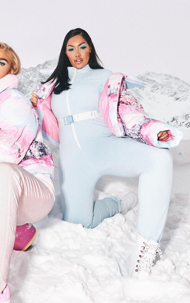 PRETTYLITTLETHING Plus Ski Pastel Blue Print Ski Suit 1