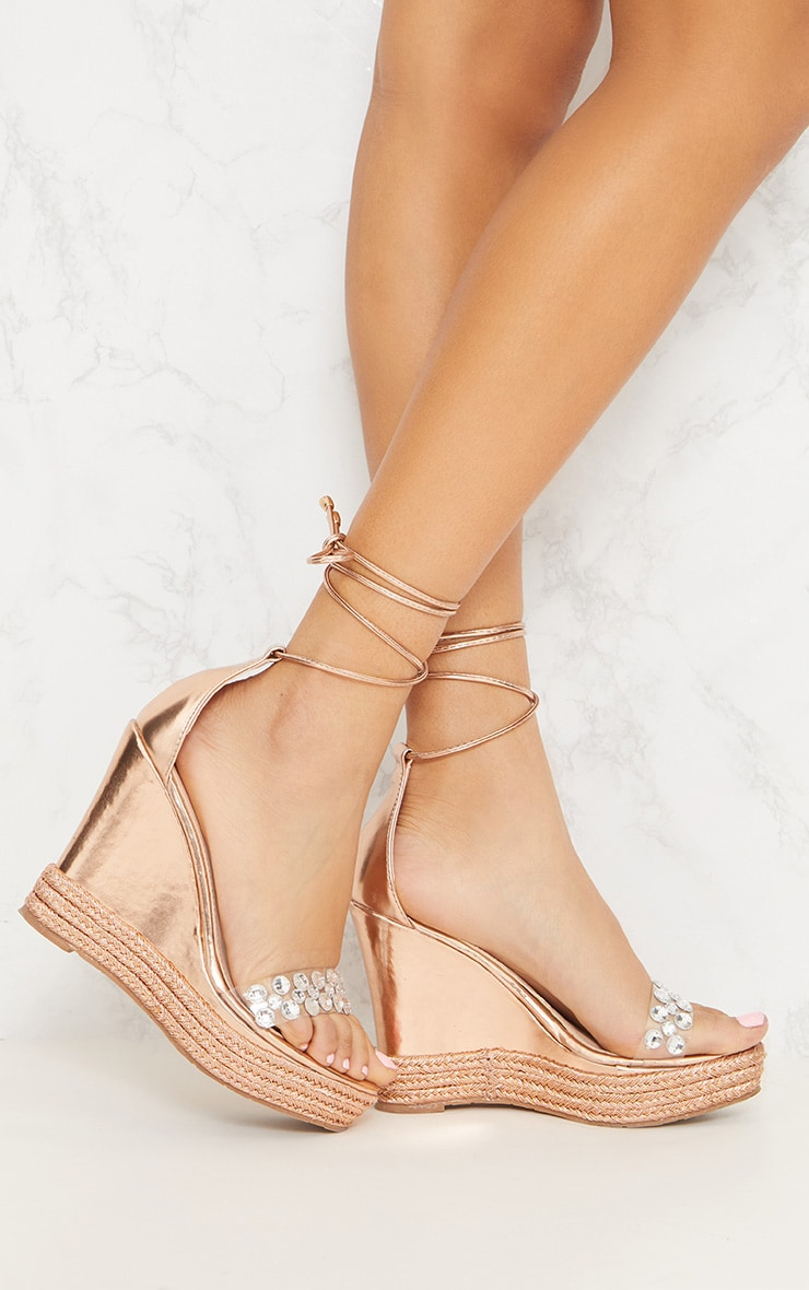 Rose Gold Jewelled High Wedge  1