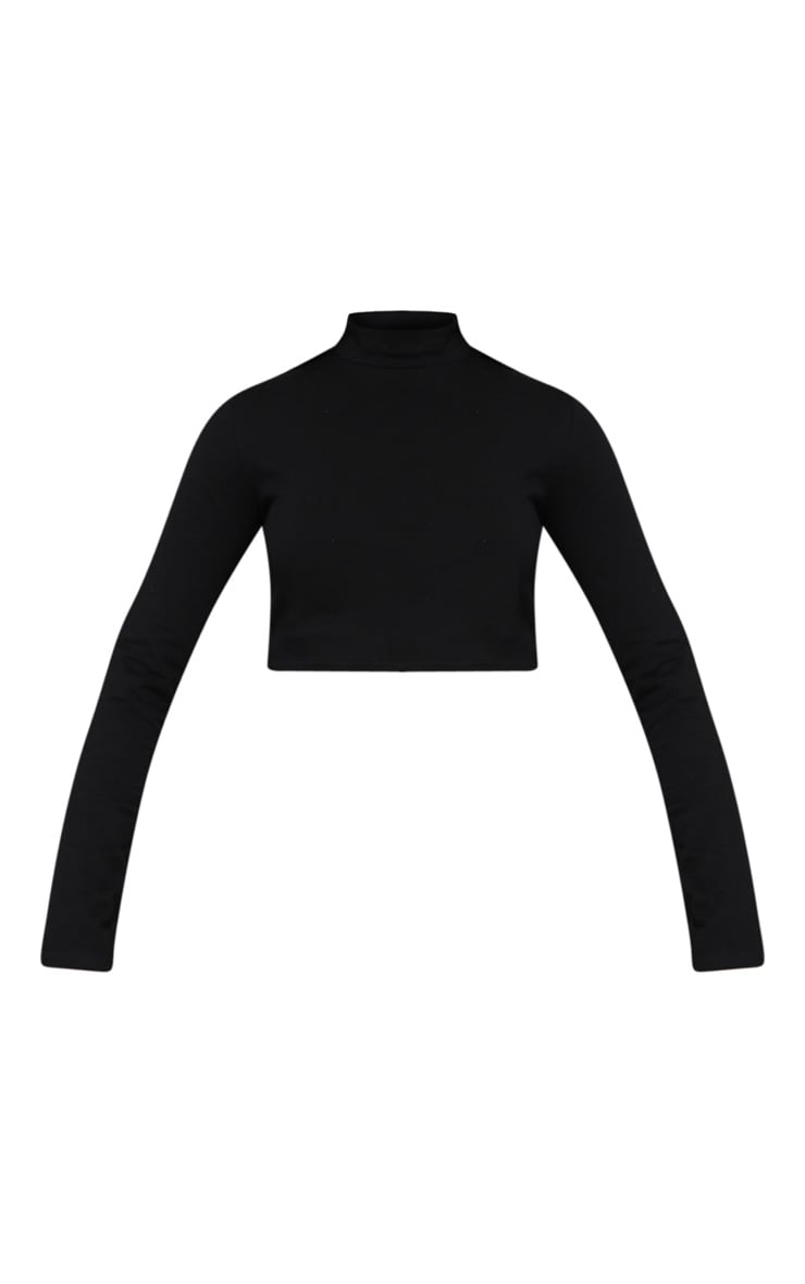Plus Black High Neck Long Sleeve Crop Top 3