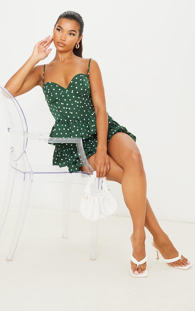 Emerald Green Polka Dot Strappy Corset Tiered Skater Dress 3