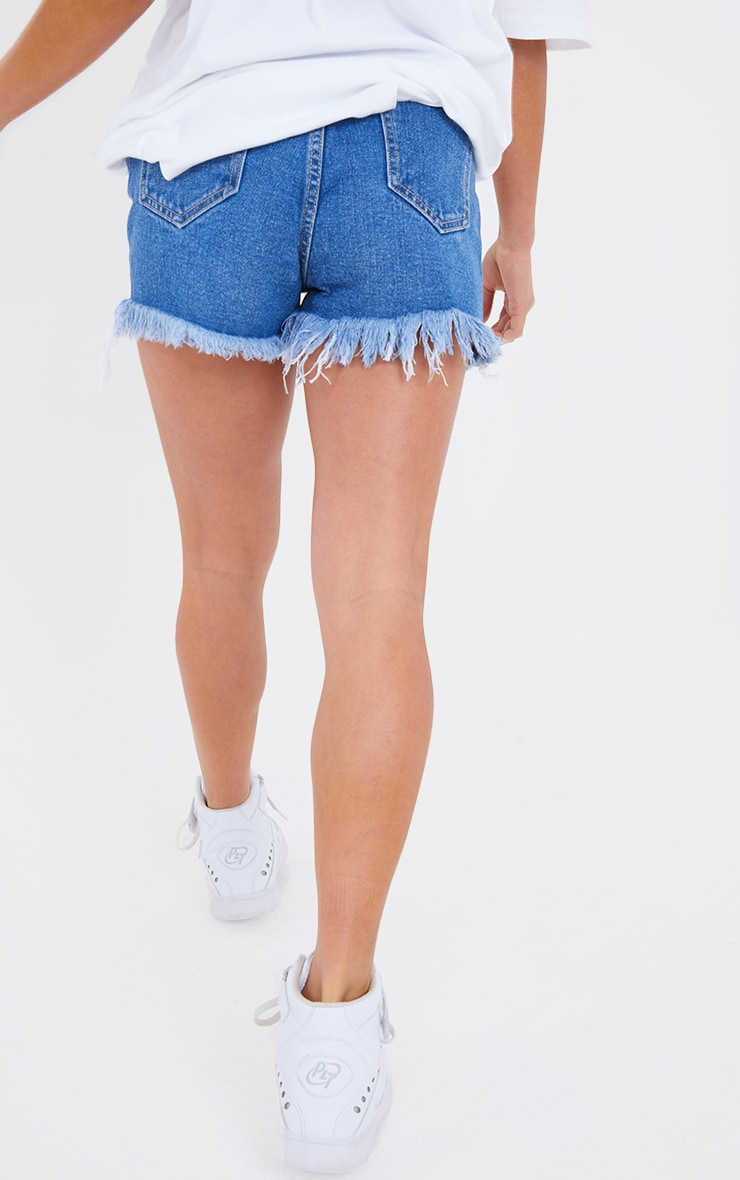 Petite Mid Blue Wash Distressed Denim Shorts 3