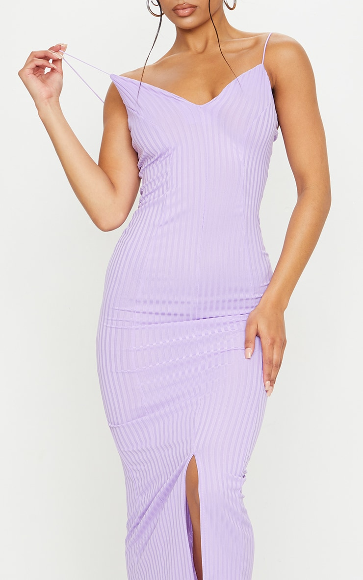 Lilac Strappy Plunge Ribbed Midaxi Dress 4