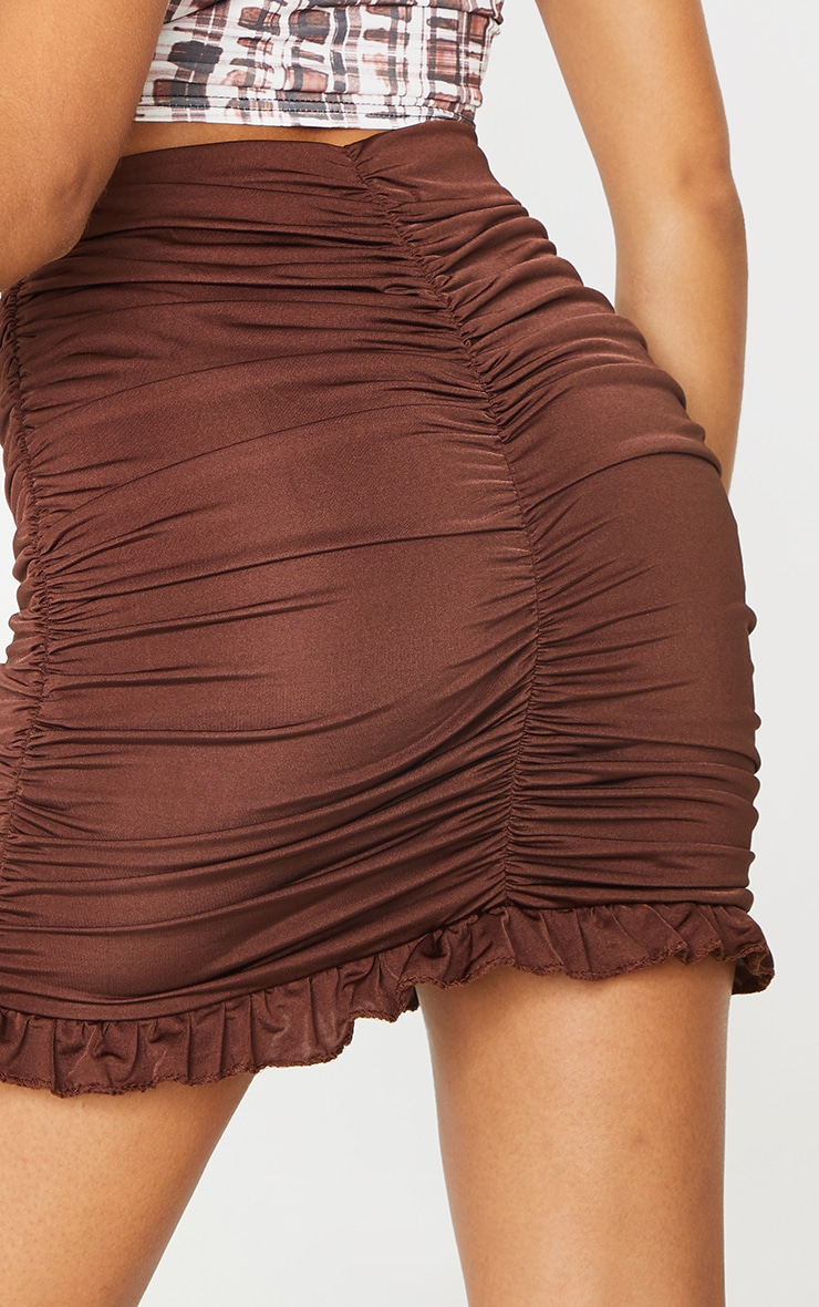 Chocolate Slinky Ruched Frill Hem Mini Skirt 5